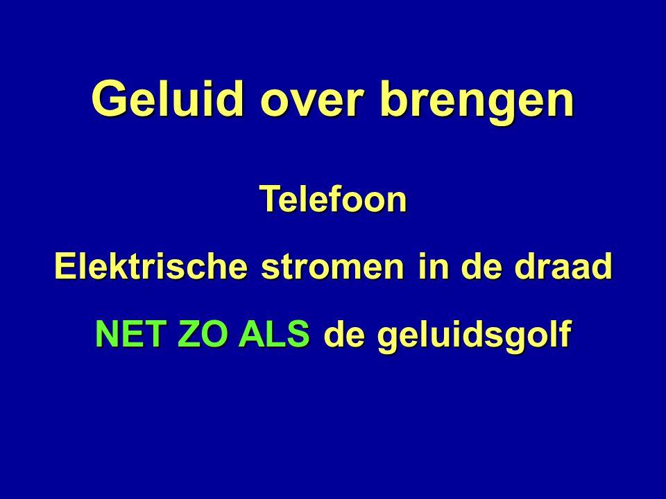 Geluid over brengen Telefoon Elektrische stromen in de draad NET ZO ALS de geluidsgolf