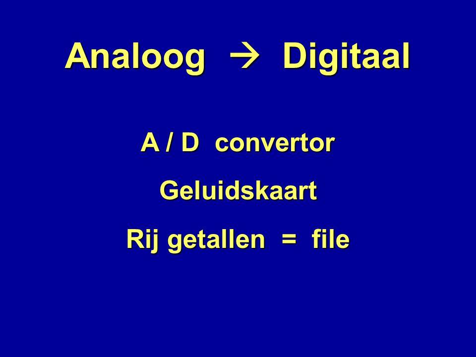 Analoog  Digitaal A / D convertor Geluidskaart Rij getallen = file