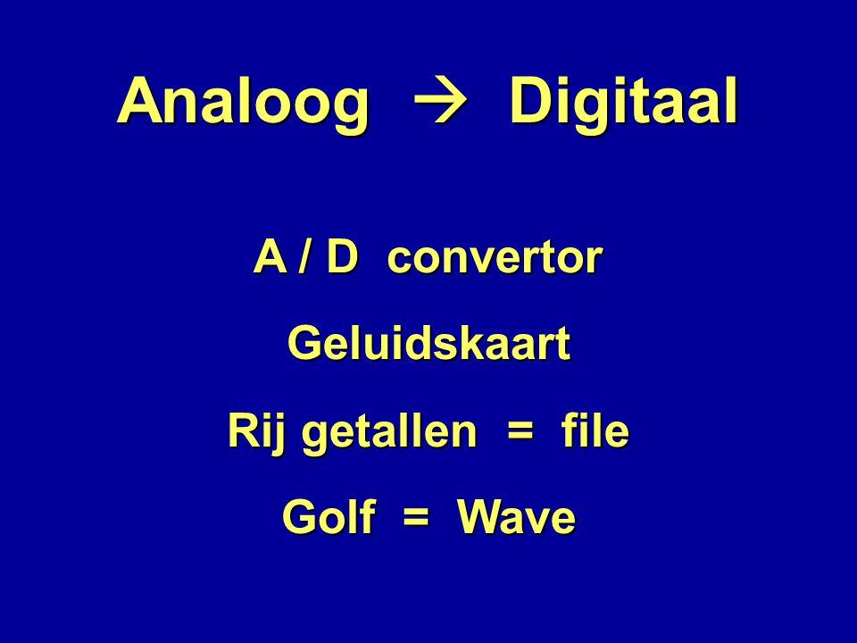 Analoog  Digitaal A / D convertor Geluidskaart Rij getallen = file Golf = Wave