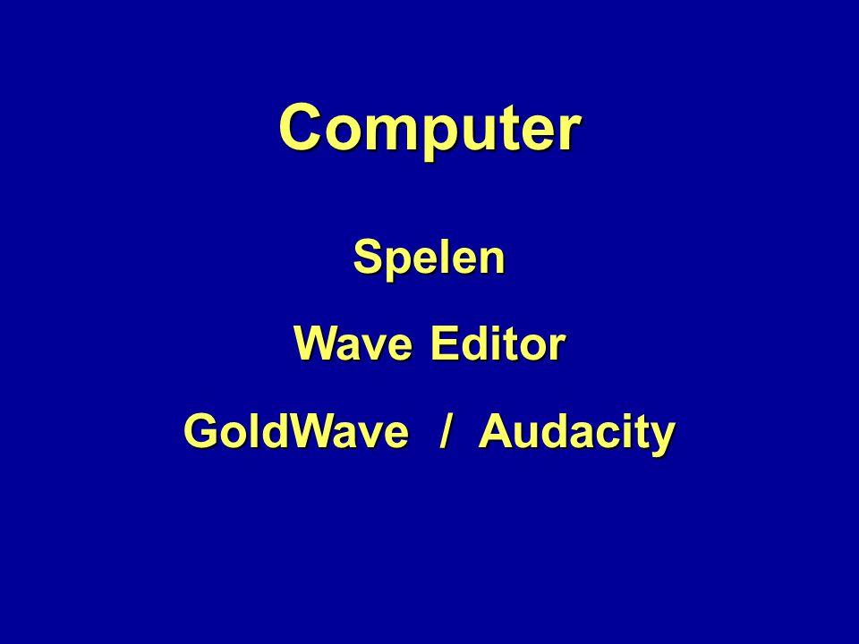 Computer Spelen GoldWave / Audacity