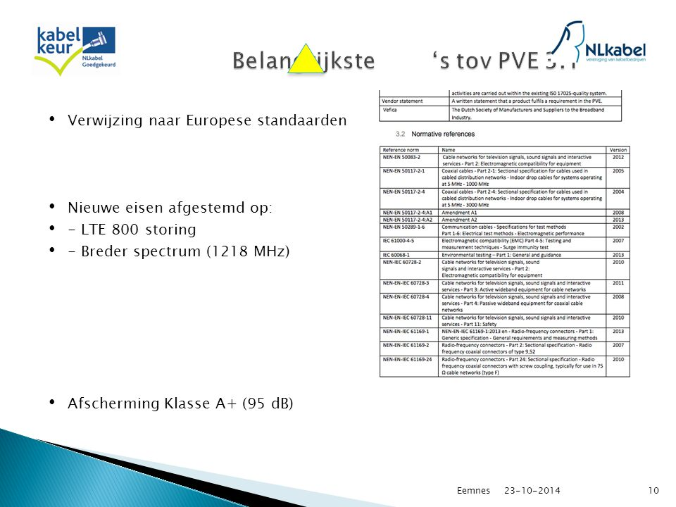 Verwijzing naar Europese standaarden Nieuwe eisen afgestemd op: - LTE 800 storing - Breder spectrum (1218 MHz) Afscherming Klasse A+ (95 dB) 23-10-2014Eemnes10