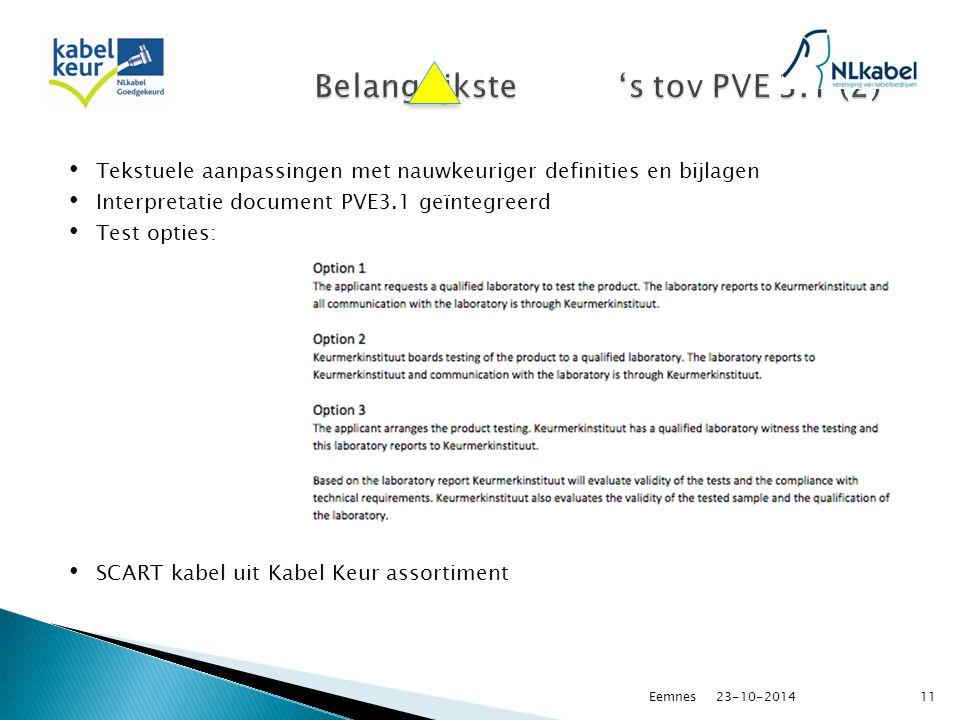 Tekstuele aanpassingen met nauwkeuriger definities en bijlagen Interpretatie document PVE3.1 geïntegreerd Test opties: SCART kabel uit Kabel Keur assortiment 23-10-2014Eemnes11