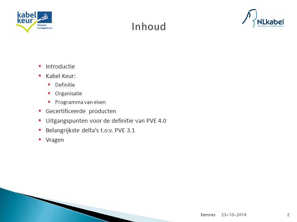  Introductie  Kabel Keur:  Definitie  Organisatie  Programma van eisen  Gecertificeerde producten  Uitgangspunten voor de definitie van PVE 4.0  Belangrijkste delta's t.o.v.