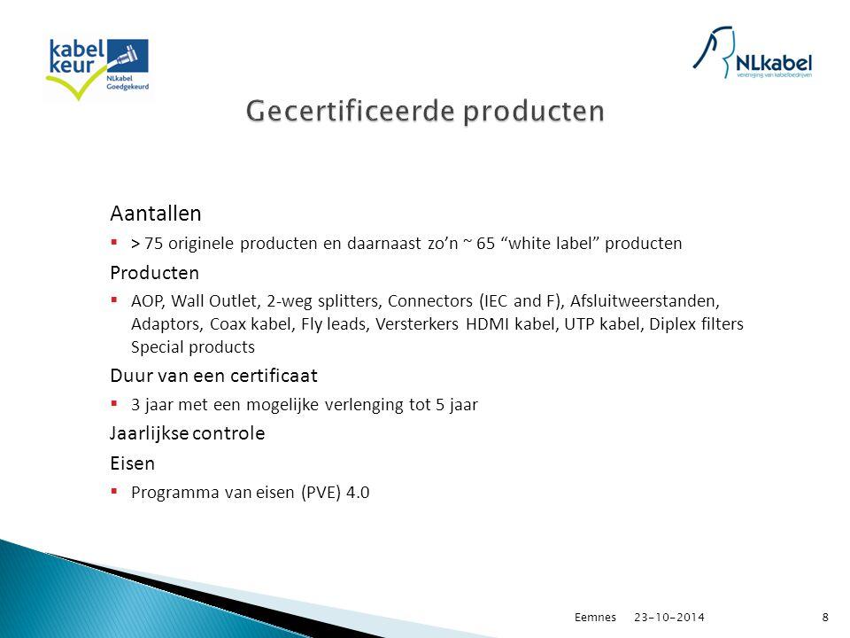 Aantallen  > 75 originele producten en daarnaast zo'n ~ 65 white label producten Producten  AOP, Wall Outlet, 2-weg splitters, Connectors (IEC and F), Afsluitweerstanden, Adaptors, Coax kabel, Fly leads, Versterkers HDMI kabel, UTP kabel, Diplex filters Special products Duur van een certificaat  3 jaar met een mogelijke verlenging tot 5 jaar Jaarlijkse controle Eisen  Programma van eisen (PVE) 4.0 23-10-20148Eemnes