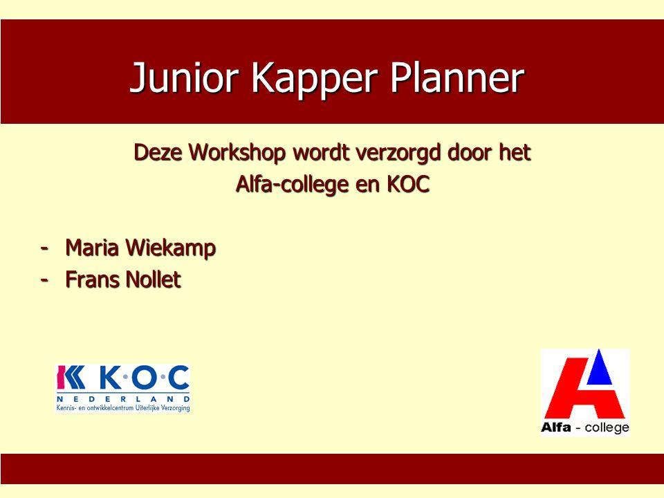 Map & cd-rom −Junior Kapper Planner (map voor de deelnemer) −Junior Kapper Coach (Cd-rom voor de coach) 1.