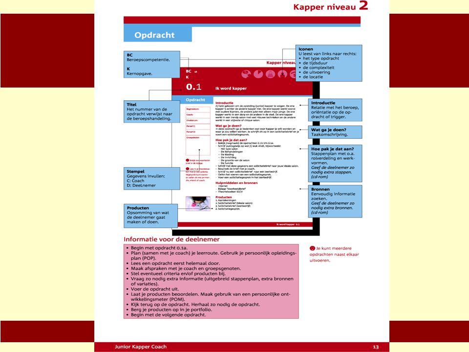 Informatie voor de deelnemer (hoe werkt de planner) −Begin met opdracht 0.1a −Plan (samen met je coach) je leerroute −Gebruik je persoonlijk-opleidingsplan (POP) −Lees een opdracht eerst helemaal door −Maak afspraken met je coach en groepsgenoten −Stel eventueel criteria en/of producten bij −Vraag zo nodig extra informatie (uitgebreid stappenplan, extra bronnen of variaties) −Voer de opdracht uit
