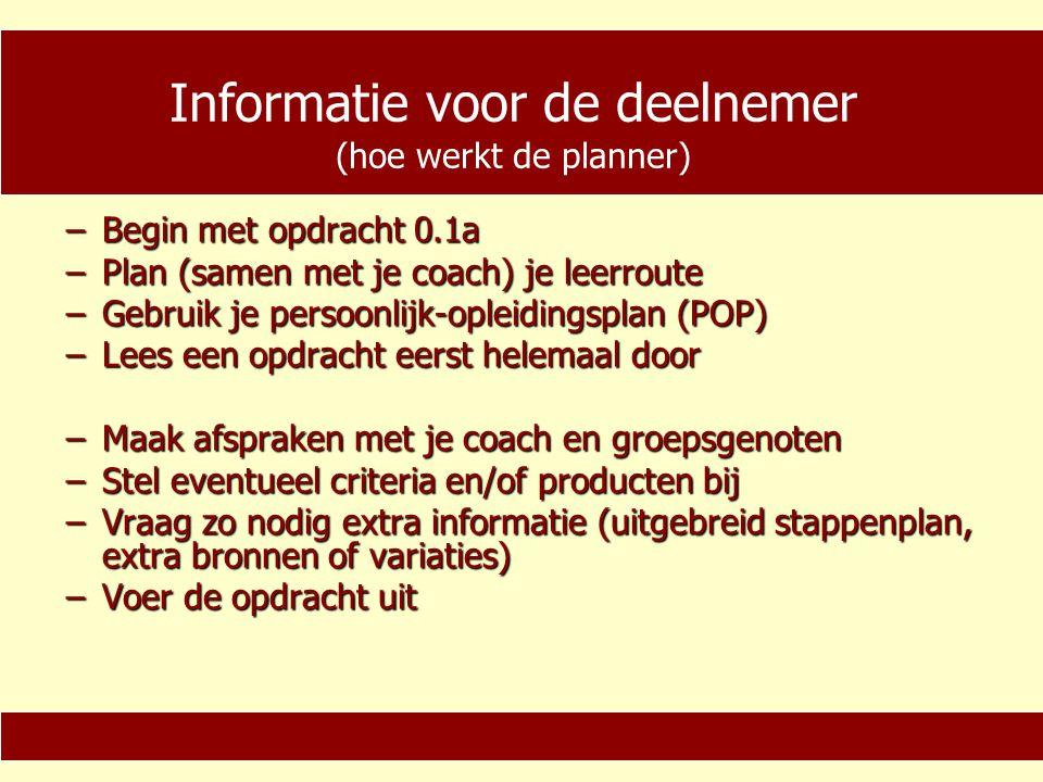 Informatie voor de deelnemer −Laat je producten beoordelen −Maak gebruik van een persoonlijke-ontwikkelings-meter (POM) −Kijk terug op de opdracht −Herhaal zo nodig de opdracht −Berg je producten op in je portfolio (verschillende manieren) −Begin met de volgende opdracht