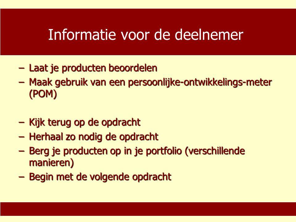 Informatie voor de coach −Lees de samenvatting, deelnemersinstructie en de Handleiding voor de coach −Volg zo nodig een ondersteunende cursus (via KOC) −Begeleid de deelnemer 'op maat' −Stimuleer de samenwerking tussen deelnemer, bedrijf en school −Richt u op het resultaat −Richt u op zelfsturing van de deelnemer −Bevorder interactie −Werk professioneel