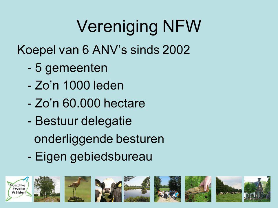 Vereniging NFW Koepel van 6 ANV's sinds 2002 - 5 gemeenten - Zo'n 1000 leden - Zo'n 60.000 hectare - Bestuur delegatie onderliggende besturen - Eigen gebiedsbureau