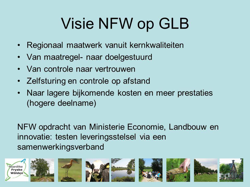 Visie NFW op GLB Regionaal maatwerk vanuit kernkwaliteiten Van maatregel- naar doelgestuurd Van controle naar vertrouwen Zelfsturing en controle op af
