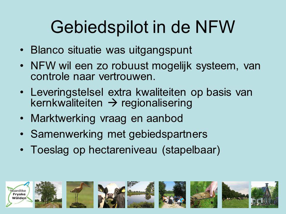 Gebiedspilot in de NFW Blanco situatie was uitgangspunt NFW wil een zo robuust mogelijk systeem, van controle naar vertrouwen. Leveringstelsel extra k