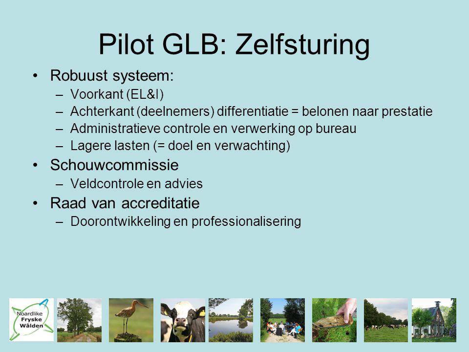 Pilot GLB: Zelfsturing Robuust systeem: –Voorkant (EL&I) –Achterkant (deelnemers) differentiatie = belonen naar prestatie –Administratieve controle en