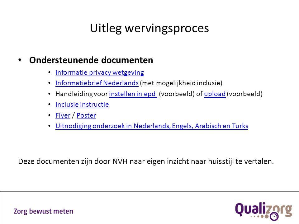 Uitleg wervingsproces Ondersteunende documenten Informatie privacy wetgeving Informatiebrief Nederlands (met mogelijkheid inclusie) Informatiebrief Ne