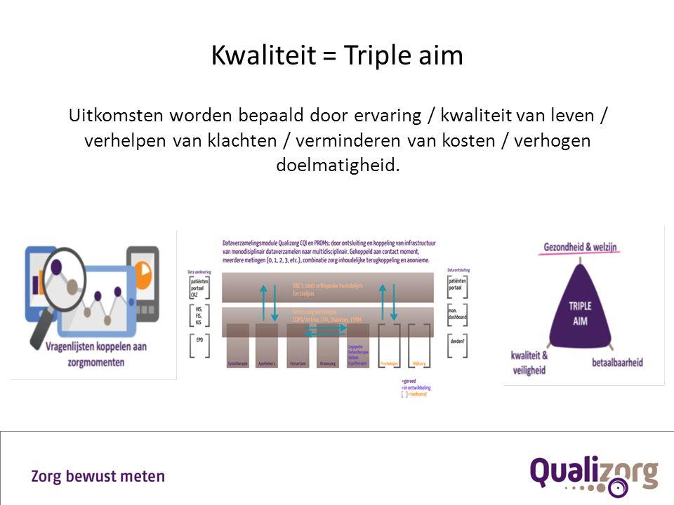 Kwaliteit = Triple aim Uitkomsten worden bepaald door ervaring / kwaliteit van leven / verhelpen van klachten / verminderen van kosten / verhogen doel