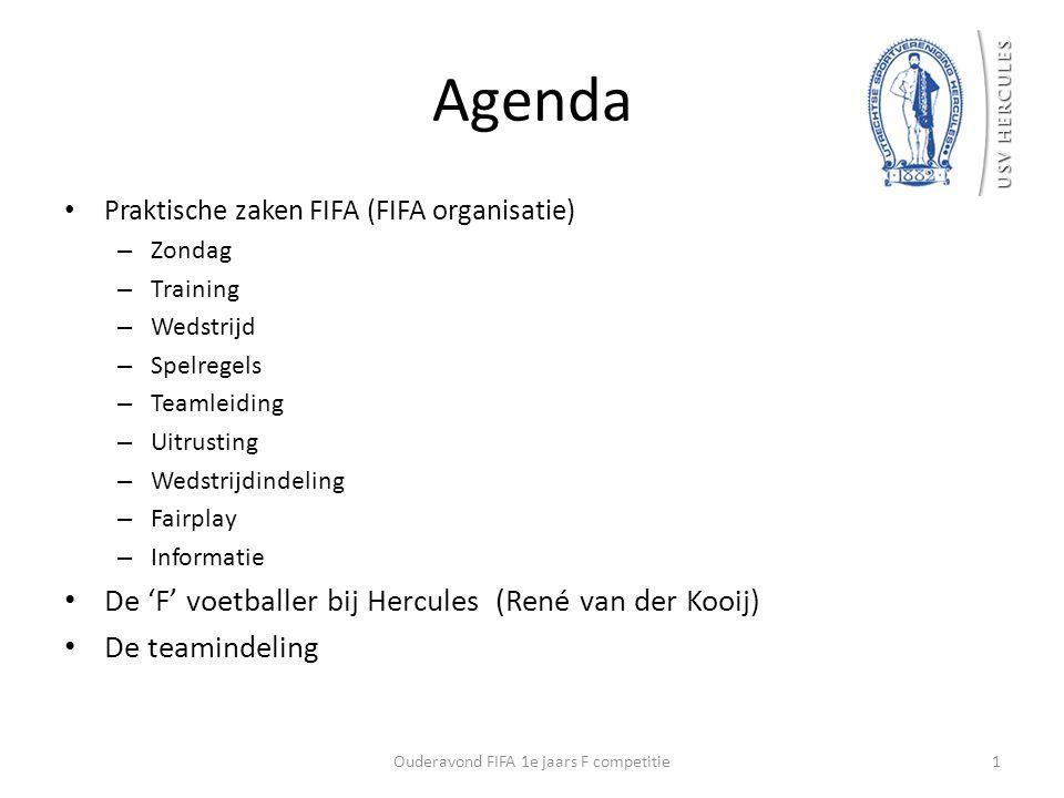 Agenda Praktische zaken FIFA (FIFA organisatie) – Zondag – Training – Wedstrijd – Spelregels – Teamleiding – Uitrusting – Wedstrijdindeling – Fairplay