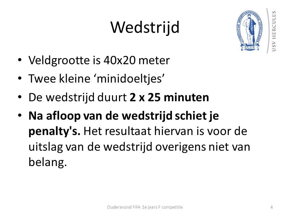Wedstrijd Veldgrootte is 40x20 meter Twee kleine 'minidoeltjes' De wedstrijd duurt 2 x 25 minuten Na afloop van de wedstrijd schiet je penalty's. Het