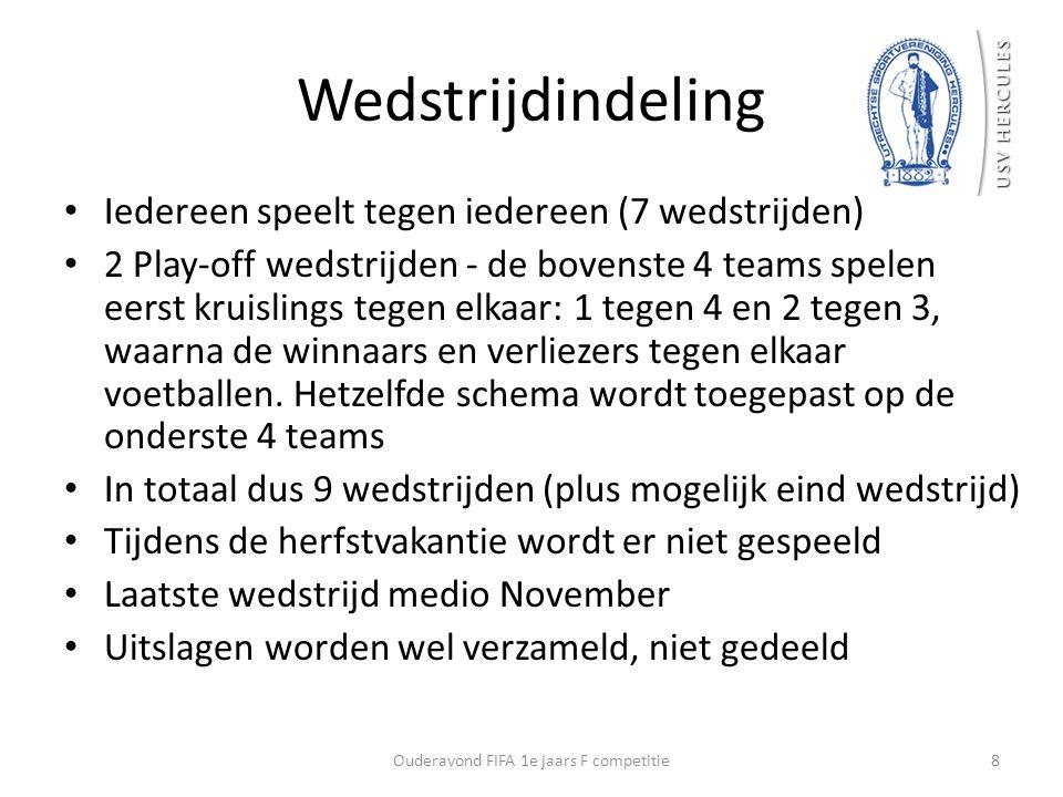 Wedstrijdindeling Iedereen speelt tegen iedereen (7 wedstrijden) 2 Play-off wedstrijden - de bovenste 4 teams spelen eerst kruislings tegen elkaar: 1