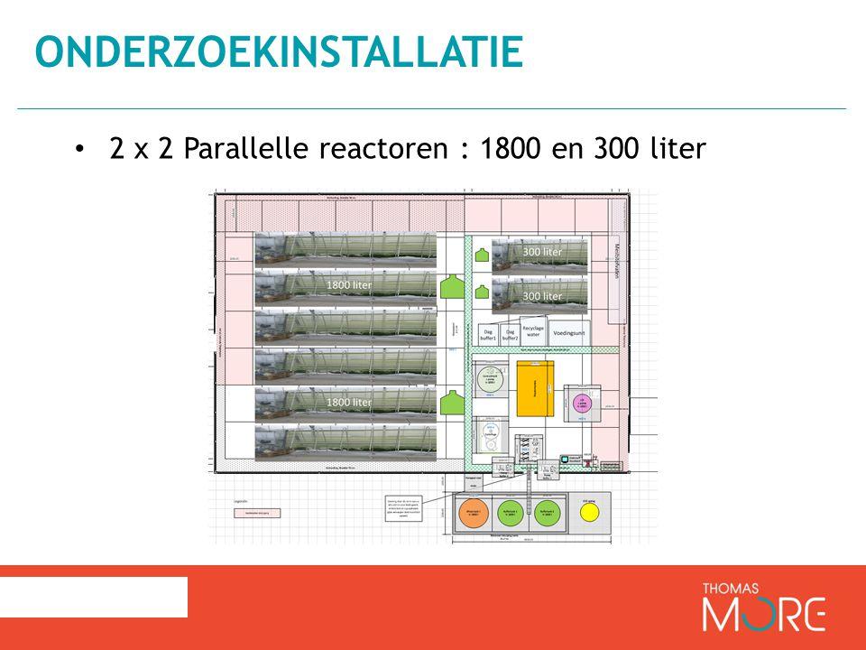 2 x 2 Parallelle reactoren : 1800 en 300 liter ONDERZOEKINSTALLATIE