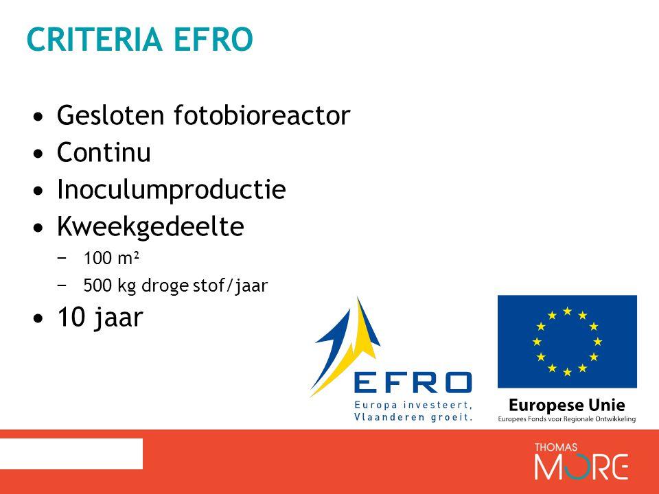 CRITERIA EFRO Gesloten fotobioreactor Continu Inoculumproductie Kweekgedeelte − 100 m² − 500 kg droge stof/jaar 10 jaar