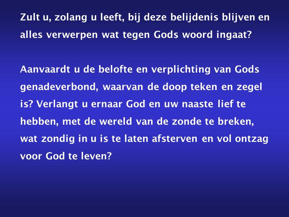 Zult u, zolang u leeft, bij deze belijdenis blijven en alles verwerpen wat tegen Gods woord ingaat? Aanvaardt u de belofte en verplichting van Gods ge