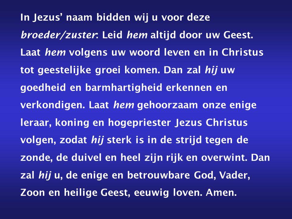 In Jezus' naam bidden wij u voor deze broeder/zuster: Leid hem altijd door uw Geest. Laat hem volgens uw woord leven en in Christus tot geestelijke gr