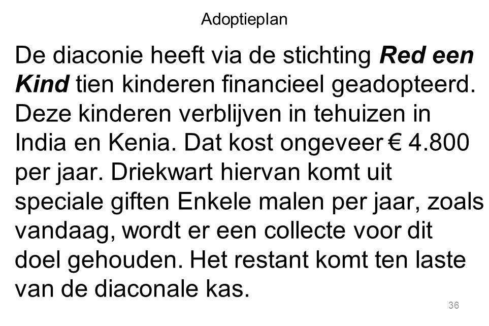 Adoptieplan De diaconie heeft via de stichting Red een Kind tien kinderen financieel geadopteerd.