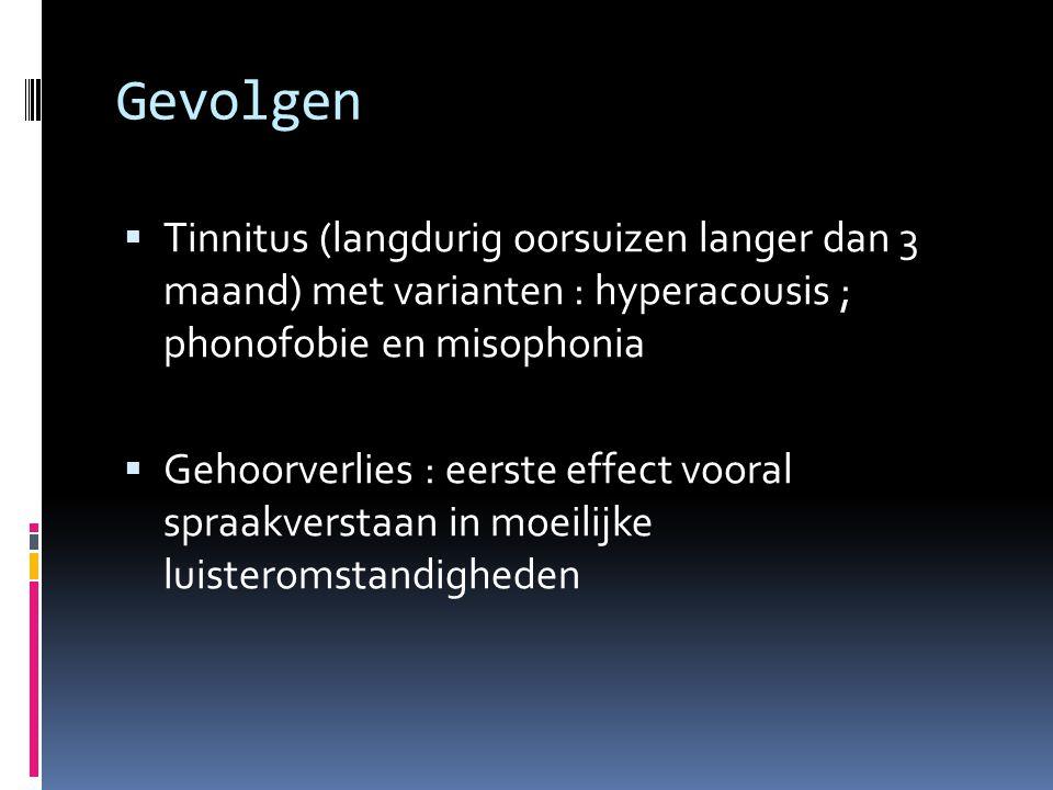 Gevolgen  Tinnitus (langdurig oorsuizen langer dan 3 maand) met varianten : hyperacousis ; phonofobie en misophonia  Gehoorverlies : eerste effect vooral spraakverstaan in moeilijke luisteromstandigheden
