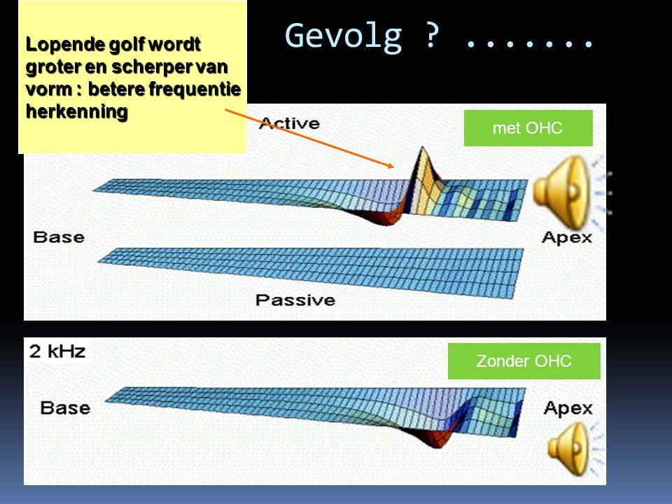 Gevolg ?....... Lopende golf wordt groter en scherper van vorm : betere frequentie herkenning Zonder OHC met OHC
