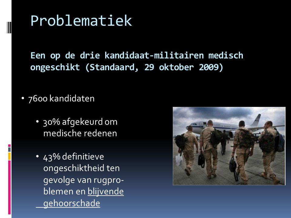 Problematiek Een op de drie kandidaat-militairen medisch ongeschikt (Standaard, 29 oktober 2009) 7600 kandidaten 30% afgekeurd om medische redenen 43% definitieve ongeschiktheid ten gevolge van rugpro- blemen en blijvende gehoorschade