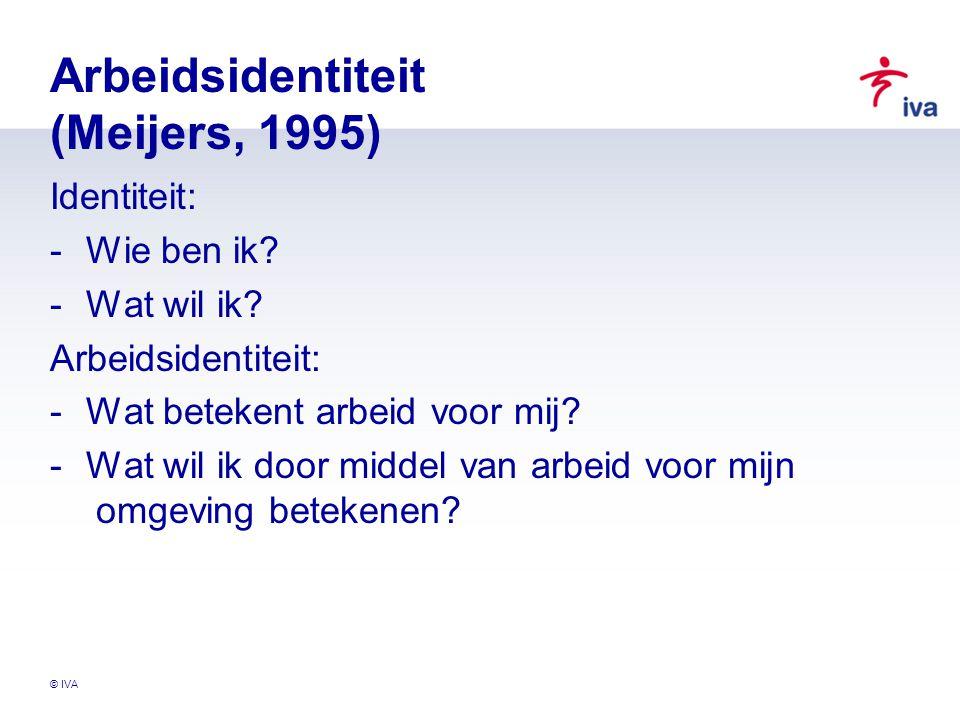 © IVA Arbeidsidentiteit (Meijers, 1995) Identiteit: -Wie ben ik? -Wat wil ik? Arbeidsidentiteit: -Wat betekent arbeid voor mij? -Wat wil ik door midde