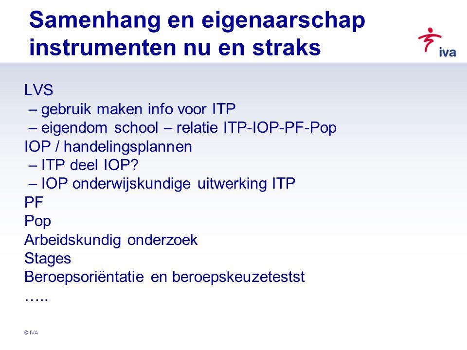 © IVA Samenhang en eigenaarschap instrumenten nu en straks LVS – gebruik maken info voor ITP – eigendom school – relatie ITP-IOP-PF-Pop IOP / handelin