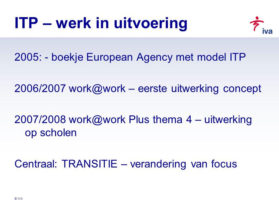 © IVA ITP – werk in uitvoering 2005: - boekje European Agency met model ITP 2006/2007 work@work – eerste uitwerking concept 2007/2008 work@work Plus t