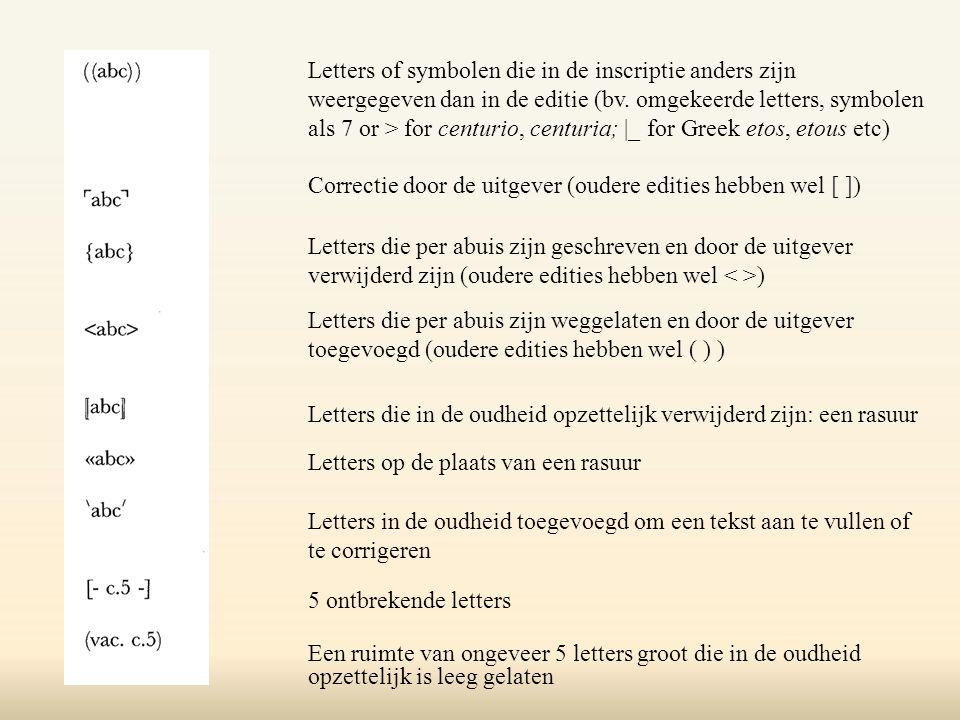 Letters of symbolen die in de inscriptie anders zijn weergegeven dan in de editie (bv.