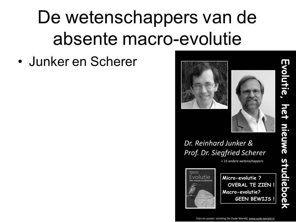De wetenschappers van de absente macro-evolutie Junker en Scherer