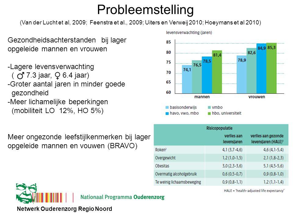 Netwerk Ouderenzorg Regio Noord Probleemstelling Gezondheidsachterstanden bij lager opgeleide mannen en vrouwen -Lagere levensverwachting ( 7.3 jaar, 6.4 jaar) -Groter aantal jaren in minder goede gezondheid -Meer lichamelijke beperkingen (mobiliteit LO 12%, HO 5%) Meer ongezonde leefstijlkenmerken bij lager opgeleide mannen en vouwen (BRAVO) (Van der Lucht et al, 2009; Feenstra et al., 2009; Uiters en Verweij 2010; Hoeymans et al 2010)