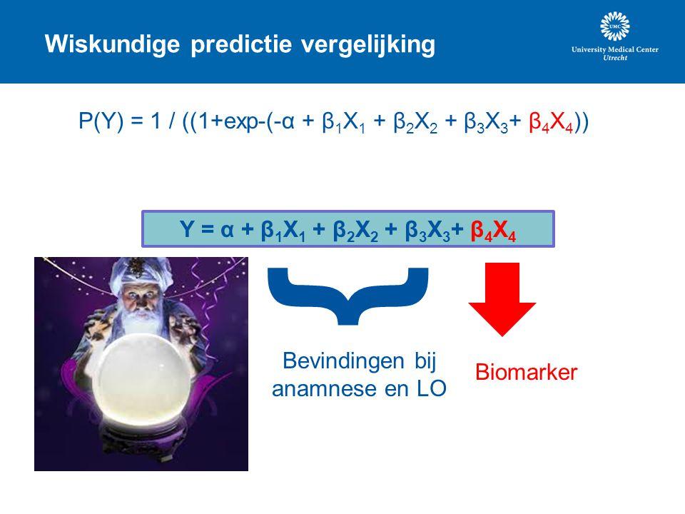 Wiskundige predictie vergelijking Y = α + β 1 X 1 + β 2 X 2 + β 3 X 3 + β 4 X 4 { Bevindingen bij anamnese en LO Biomarker P(Y) = 1 / ((1+exp-(-α + β
