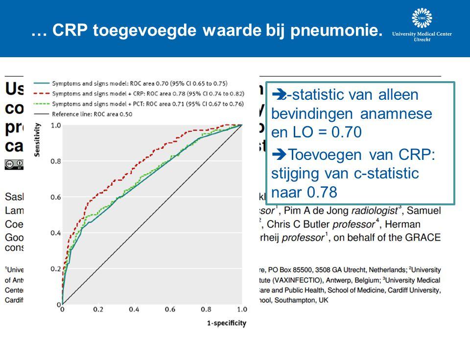 … CRP toegevoegde waarde bij pneumonie.  c-statistic van alleen bevindingen anamnese en LO = 0.70  Toevoegen van CRP: stijging van c-statistic naar