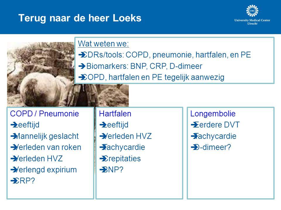 Terug naar de heer Loeks Wat weten we:  CDRs/tools: COPD, pneumonie, hartfalen, en PE  Biomarkers: BNP, CRP, D-dimeer  COPD, hartfalen en PE tegeli