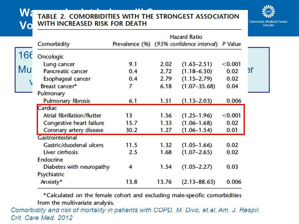 Waarom is dat belangrijk? Voorbeeld COPD. 1664 patiënten met COPD (2 e lijn). Multivariate analyse naar comorbiditeit als voorspeller van mortaliteit.