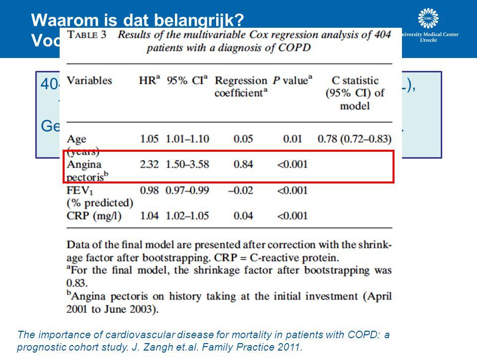 Waarom is dat belangrijk? Voorbeeld COPD. 404 patiënten met COPD (65+) uit de eerste lijn (NL), follow-up periode van gemiddeld 4.2 jaar. Gedurende fo