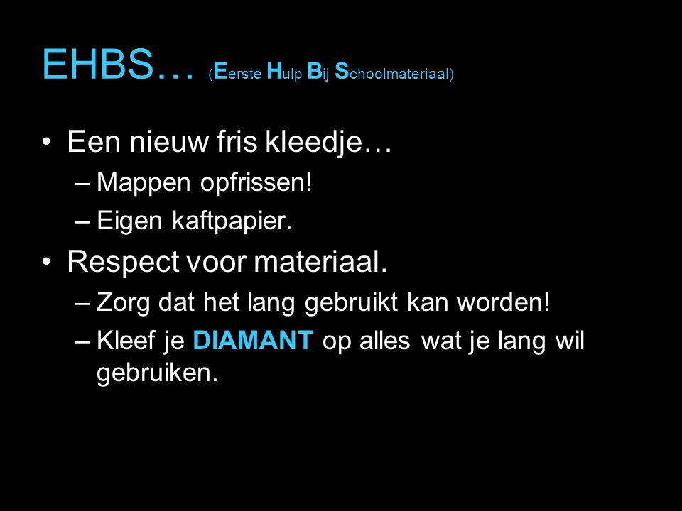 EHBS… ( E erste H ulp B ij S choolmateriaal) Een nieuw fris kleedje… –Mappen opfrissen.