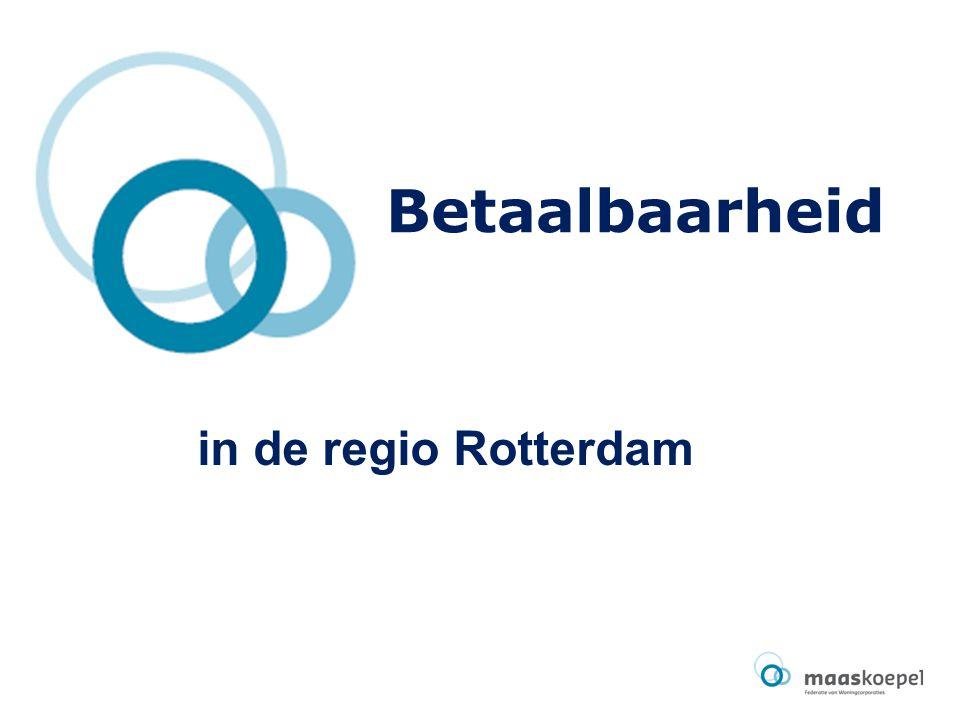 Aanleiding Betaalbaarheidsvraagstuk staat in de belangstelling Er is al veel onderzocht: –Landelijke onderzoeken door Woonbond en Corpovenista, maar ook door éénvandaag –Lokale partijen in Tilburg, 's-Hertogenbosch, Gooi- en Vechtstreek Onderwerp prestatieafspraken gemeente Rotterdam en corporaties > gezamenlijk onderzoek Stadsregio en Maaskoepel al snel aangehaakt