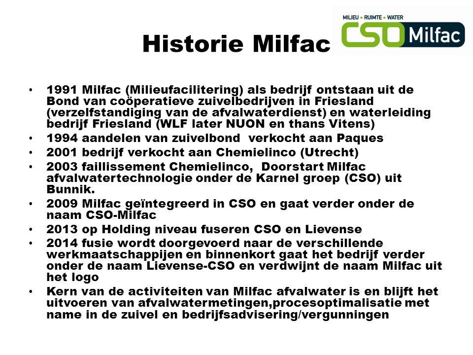 Historie Milfac 1991 Milfac (Milieufacilitering) als bedrijf ontstaan uit de Bond van coöperatieve zuivelbedrijven in Friesland (verzelfstandiging van de afvalwaterdienst) en waterleiding bedrijf Friesland (WLF later NUON en thans Vitens) 1994 aandelen van zuivelbond verkocht aan Paques 2001 bedrijf verkocht aan Chemielinco (Utrecht) 2003 faillissement Chemielinco, Doorstart Milfac afvalwatertechnologie onder de Karnel groep (CSO) uit Bunnik.