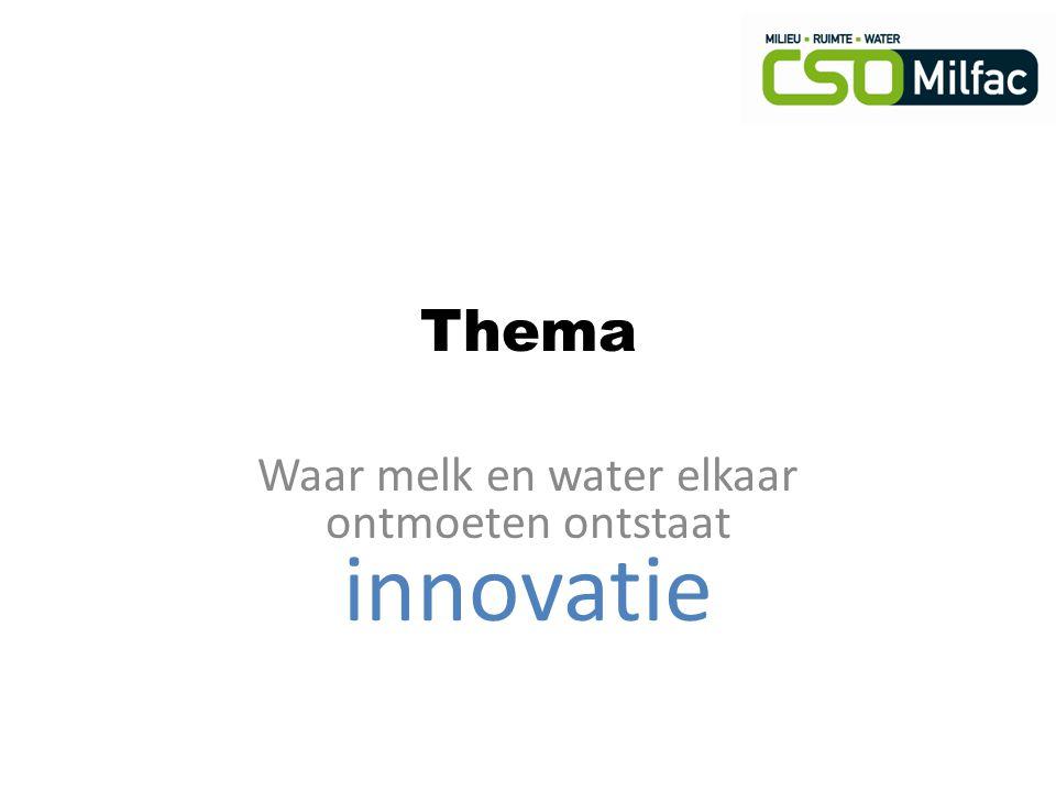 Thema Waar melk en water elkaar ontmoeten ontstaat innovatie