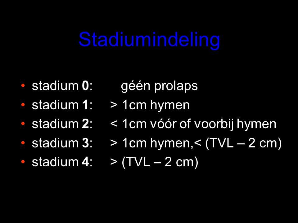 Stadiumindeling stadium 0: géén prolaps stadium 1:> 1cm hymen stadium 2:< 1cm vóór of voorbij hymen stadium 3:> 1cm hymen,< (TVL – 2 cm) stadium 4:> (TVL – 2 cm)