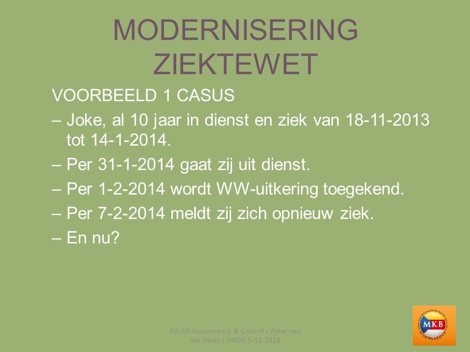 MODERNISERING ZIEKTEWET VOORBEELD 1 CASUS –Joke, al 10 jaar in dienst en ziek van 18-11-2013 tot 14-1-2014. –Per 31-1-2014 gaat zij uit dienst. –Per 1