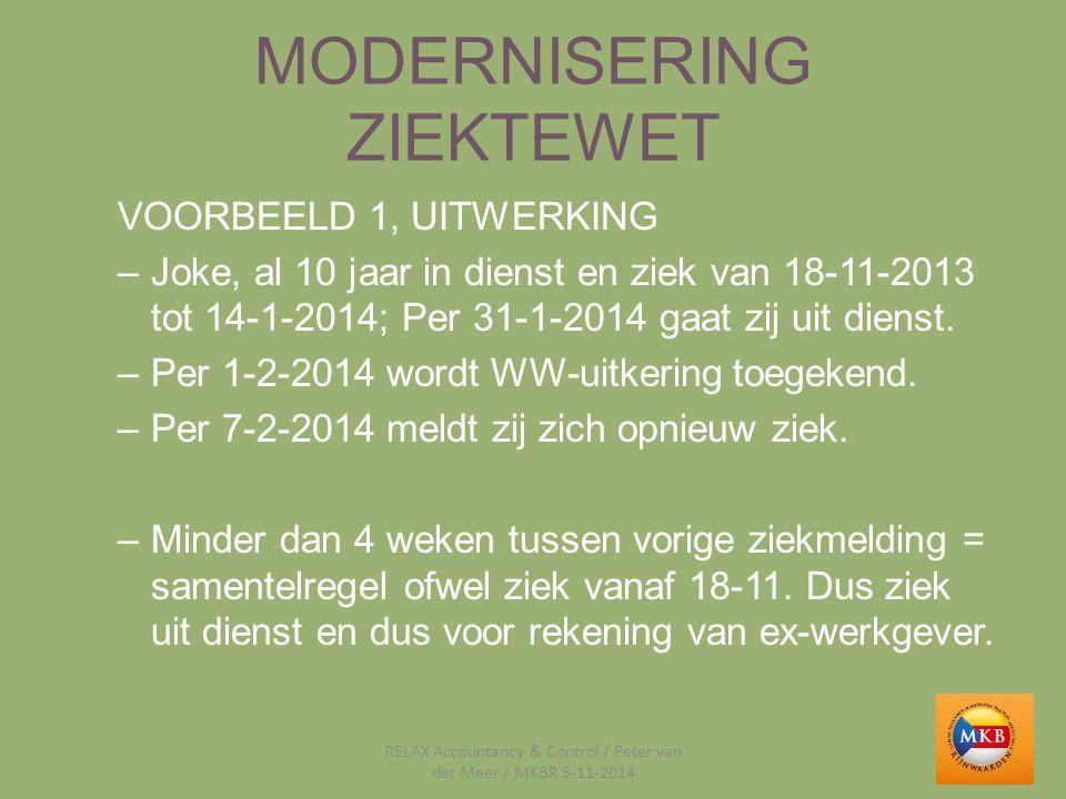 MODERNISERING ZIEKTEWET VOORBEELD 1, UITWERKING –Joke, al 10 jaar in dienst en ziek van 18-11-2013 tot 14-1-2014; Per 31-1-2014 gaat zij uit dienst. –