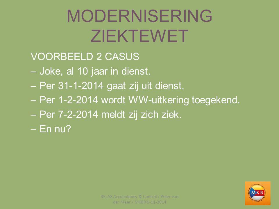 MODERNISERING ZIEKTEWET VOORBEELD 2 CASUS –Joke, al 10 jaar in dienst. –Per 31-1-2014 gaat zij uit dienst. –Per 1-2-2014 wordt WW-uitkering toegekend.