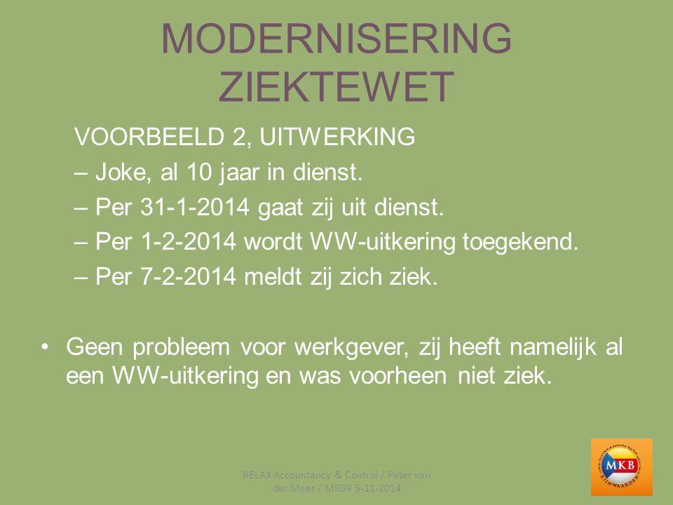 MODERNISERING ZIEKTEWET VOORBEELD 2, UITWERKING –Joke, al 10 jaar in dienst. –Per 31-1-2014 gaat zij uit dienst. –Per 1-2-2014 wordt WW-uitkering toeg