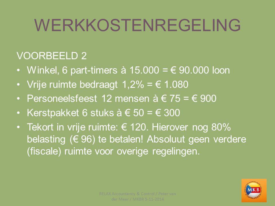 WERKKOSTENREGELING VOORBEELD 2 Winkel, 6 part-timers à 15.000 = € 90.000 loon Vrije ruimte bedraagt 1,2% = € 1.080 Personeelsfeest 12 mensen à € 75 =